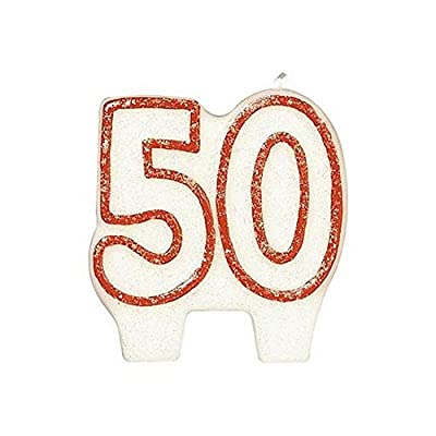 #50 Celebration Candle| White/Red | Party Supply: Kitchen & Dining