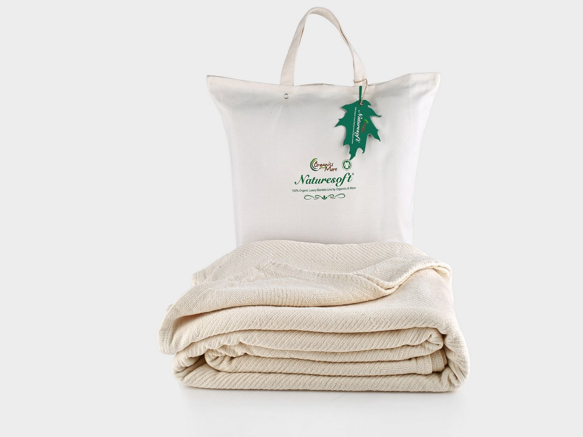 Organics and More Cotton Chenille Herringbone Blanket - Full - Natural - FUCHB-1 by Organics and More