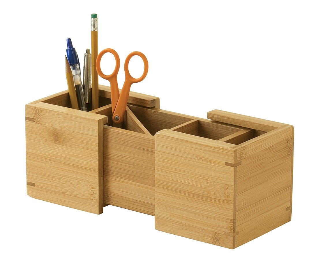 Lipper International 807 Bamboo Wood Expandable Pencil and Office Supply Holder, 7 1/2'' x 4 1/4'' x 4''