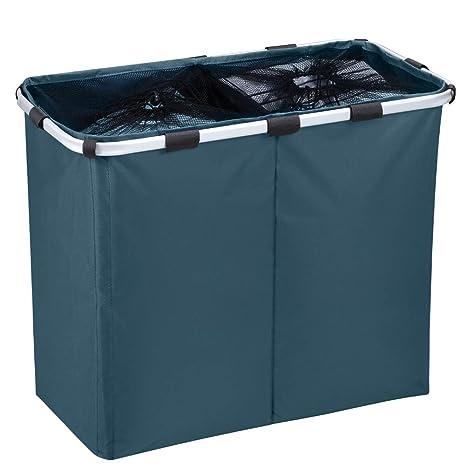 IHOMAGIC Cesto para Ropa Sucia Plegable Bolsa Colada para Baño con Doble Compartimiento Organizador Lavandería Oxford 600D PVC Resistente para Cocina ...