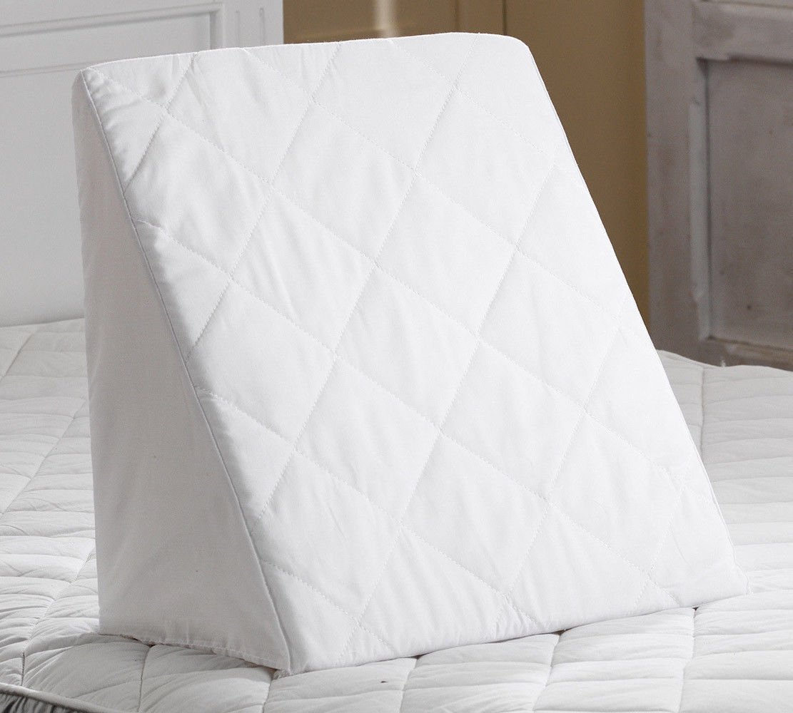 Foam Bed Wedge with Soft Blend Quilted Cover Multi Back relax Support (White, 20 x 18 x 11) Topstyle Collection