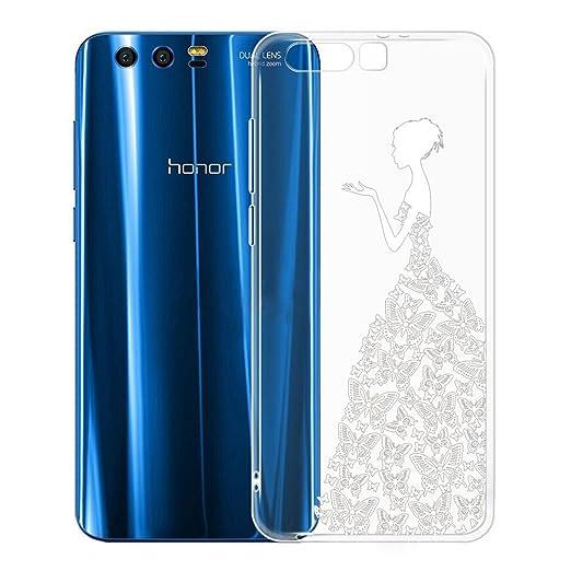 2 opinioni per Custodia per Huawei Honor 9 , IJIA Trasparente Ragazza White Butterfly Gonna TPU