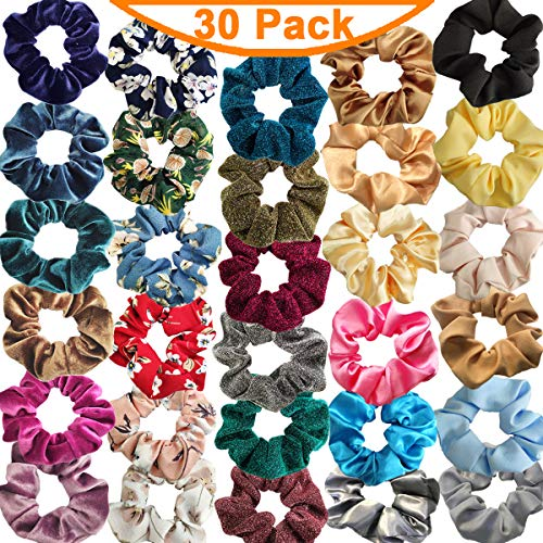 30 Pcs Hair Scrunchies Velvet and Chiffon Elastic Hair Bands Scrunchy, Colorful Hair Ties Ropes Scrunchie for Women or Girls Hair Accessories - Including Velvet, Chiffon, Silk, Paillette Hair Ties