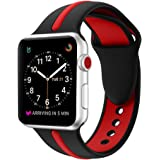 EloBeth Compatible Apple Watch Band 42mm, Soft Silicone Sport Replacement Wrist Strap Stripe Color Splicing for Apple Watch Series 3/2/1 Nike+ Sport Edition Smart IWatch (Stripe-Black/Red, 42mm)