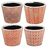 Hand Crafted Orange And White Round Shape Patterns Pot Planters, Set Of 4