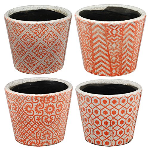 Potting Soil Costume (Hand Crafted Orange And White Round Shape Patterns Pot Planters, Set Of 4)