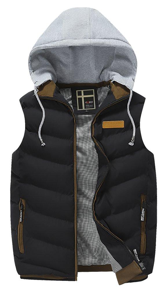QZUnique Men's Casual Winter Full-Zip Sleeveless Vest with Detachable Hoodie