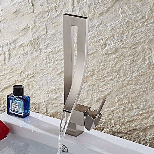 Guoke Touch Bathroom Faucet Bathroom Wash Basin Mixer Basin Creative Concept Boutique-Style Hot And Cold Single Hole Faucet Bathroom Sink Faucet, Brushed)