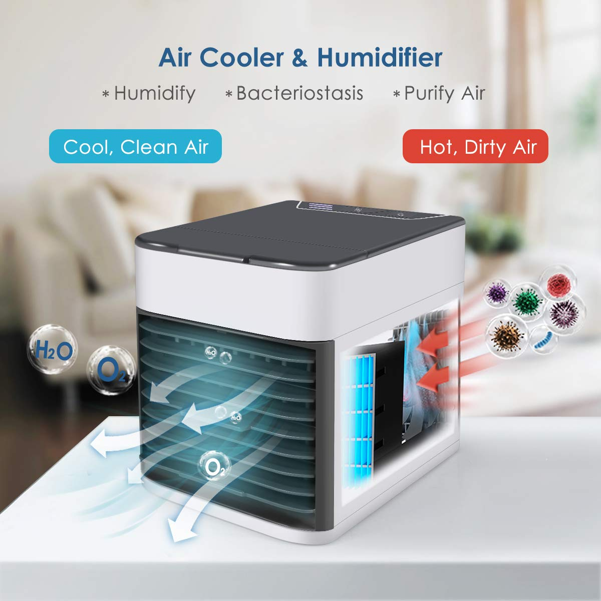 Dorm Efast Air Conditioner Fan Air Personal Space Cooler Small Desktop Fan Quiet Personal Table Fan Mini Evaporative Air Circulator Cooler Humidifier Bladeless Quiet for Office