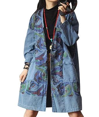 94c360cb00 YESNO YS9 Women Casual Denim Jacket Floral Jeans Trench Coat Back  Slit Pockets