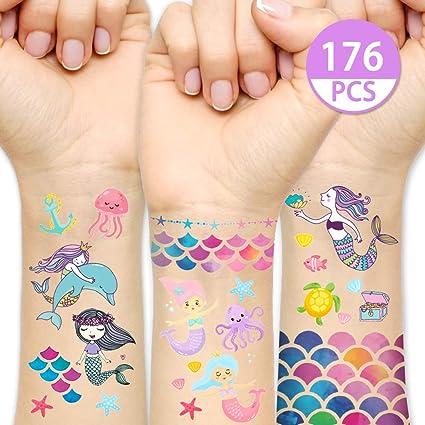 Amazon Com Kreatwow Mermaid Tattoos Temporary For Kids Mermaid