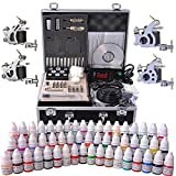 Tattoo Complete Kit LCD Power Supply with 4 Guns 54 Inks and Travel Case