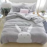 Cartoon Flannel Bedding Sets Winter - Thicken Design Cute Rabbit Duvet Cover Flat Sheet Full Grey