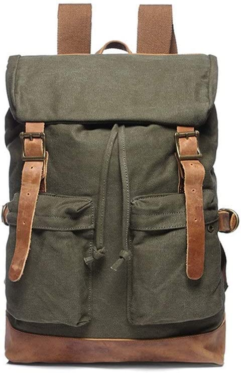 Color : Green, Size : 32cm x 12cm x 43cm Zhouminli Mens Backpack Canvas Backpacks Vintage Casual Mens Rucksacks College School Bags Shoulder Backpack for Travel Hiking Camping Outdoors for Men