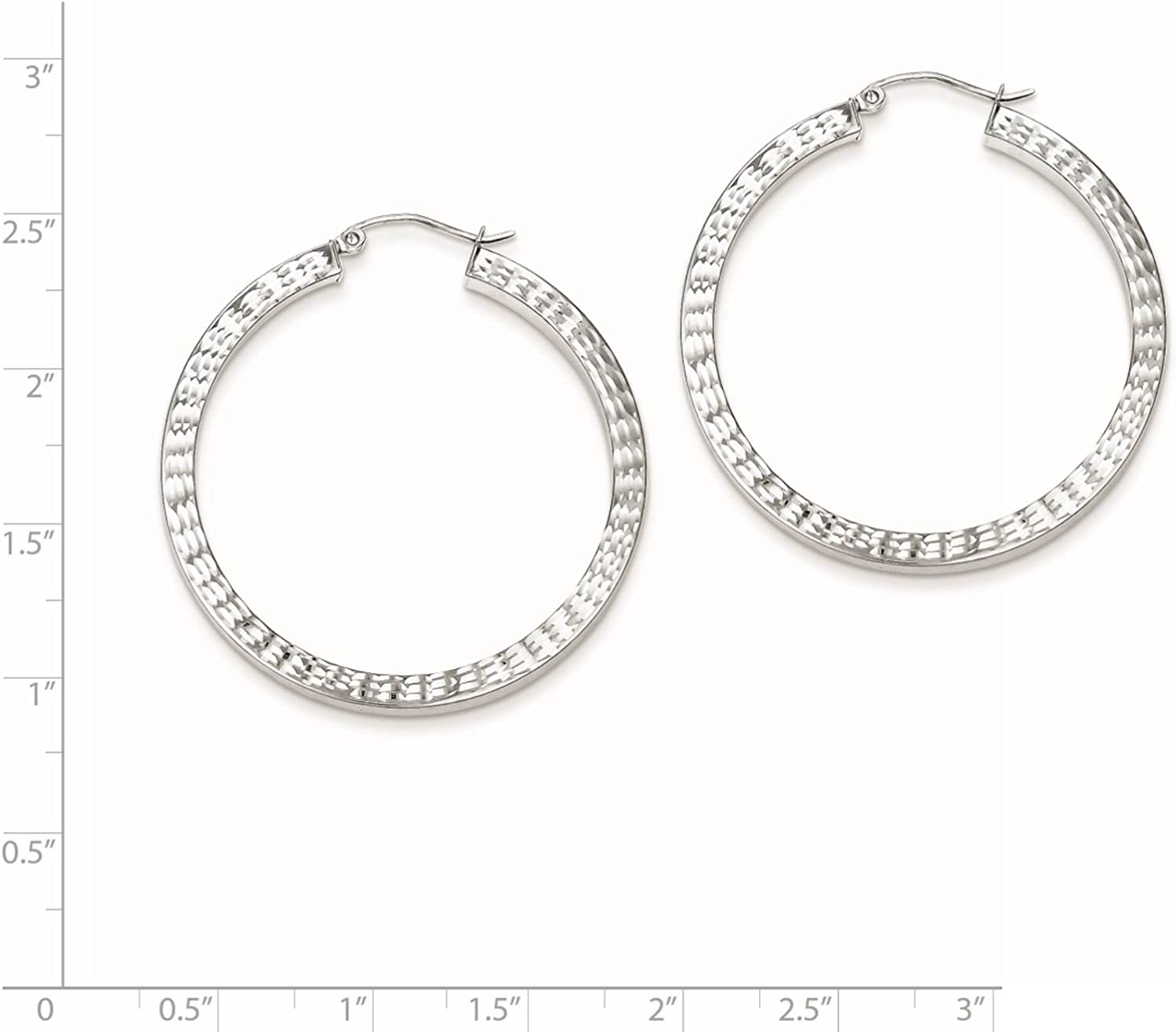 925 Sterling Silver Rhodium-plated Polished /& Diamond-cut Square-tube Hoop Earrings 3mm x 41mm