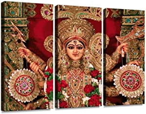 YKing1 Front View of Durga Idol as Worshipped by Bengali Community Wall Art Painting Pictures Print On Canvas Stretched & Framed Artworks Modern Hanging Posters Home Decor 3PANEL