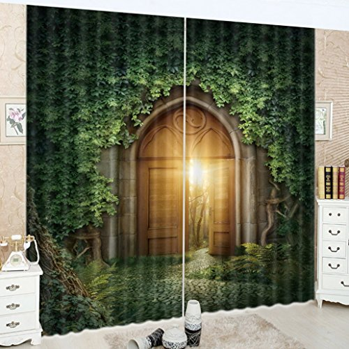 LB Green Curtains for Living Room, Light Shine Through Mysterious Door, Decorative Window Treatment Drapes, 80x95 Inches (2 Panels Size) by LB