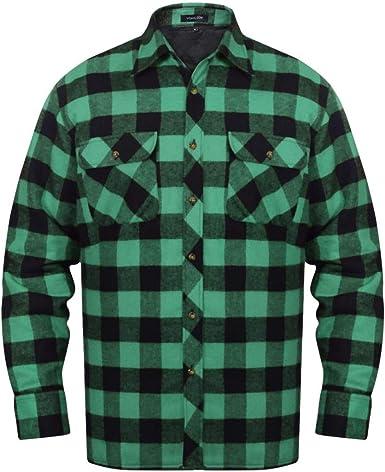 Festnight- Camisa de Franela de Manga Larga para Hombres Camisa de leñador a Cuadros 2 Colores XXL: Amazon.es: Ropa y accesorios