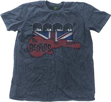 Rockoff Trade The Beatles Guitar & Flag Snow Wash Camiseta para Hombre