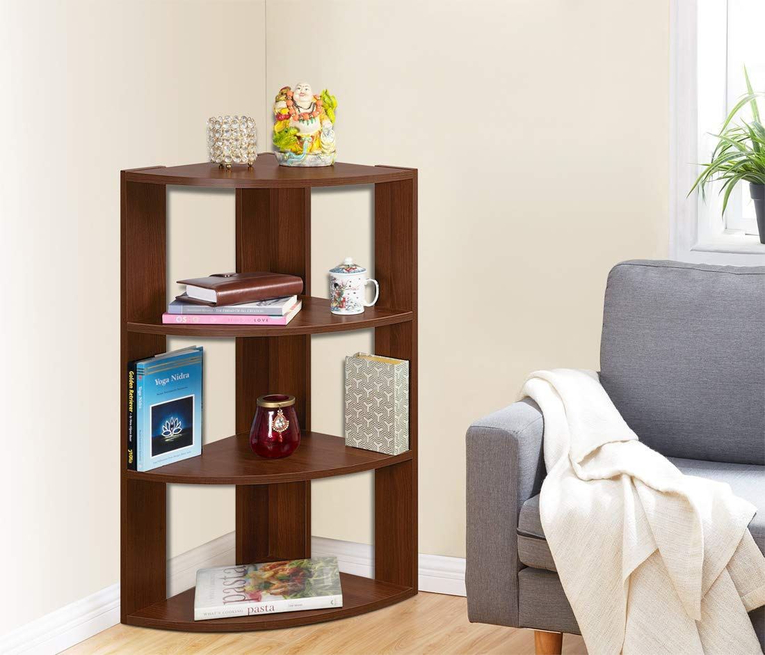 Delite Kom Living Room/Bedroom Tulip Engineered Wood Multipurpose Corner Book Rack Cum Display Rack 4 Shelves, Acacia Dark Bookcases