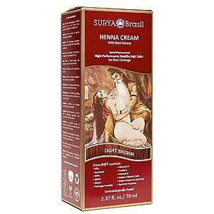 Henna Light Brown Cream Surya Nature, Inc 2.31 oz Cream