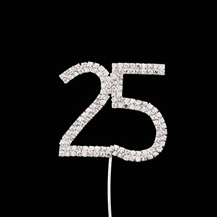 Zebratown Custom Personalized 25 Years Old Birthday Cake Topper Number Rhinestonre Bling Decoration