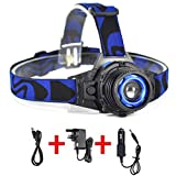 Boruit Zoomable XPE Q5 LED Headlamp, Waterproof Head Torch, Built-in Rechargeable Battery Headlight for Camping Fishing Cycling Running Hiking Hunting Bicycling Outdoors
