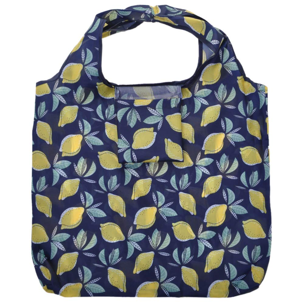 Opromo軽量折りたたみ再利用可能な食料品バッグ 折り畳み式ショッピングバッグは ポケットに収まる 20パターン - レモン - 100 点入り 100 点入り レモン B07GKX6JQK