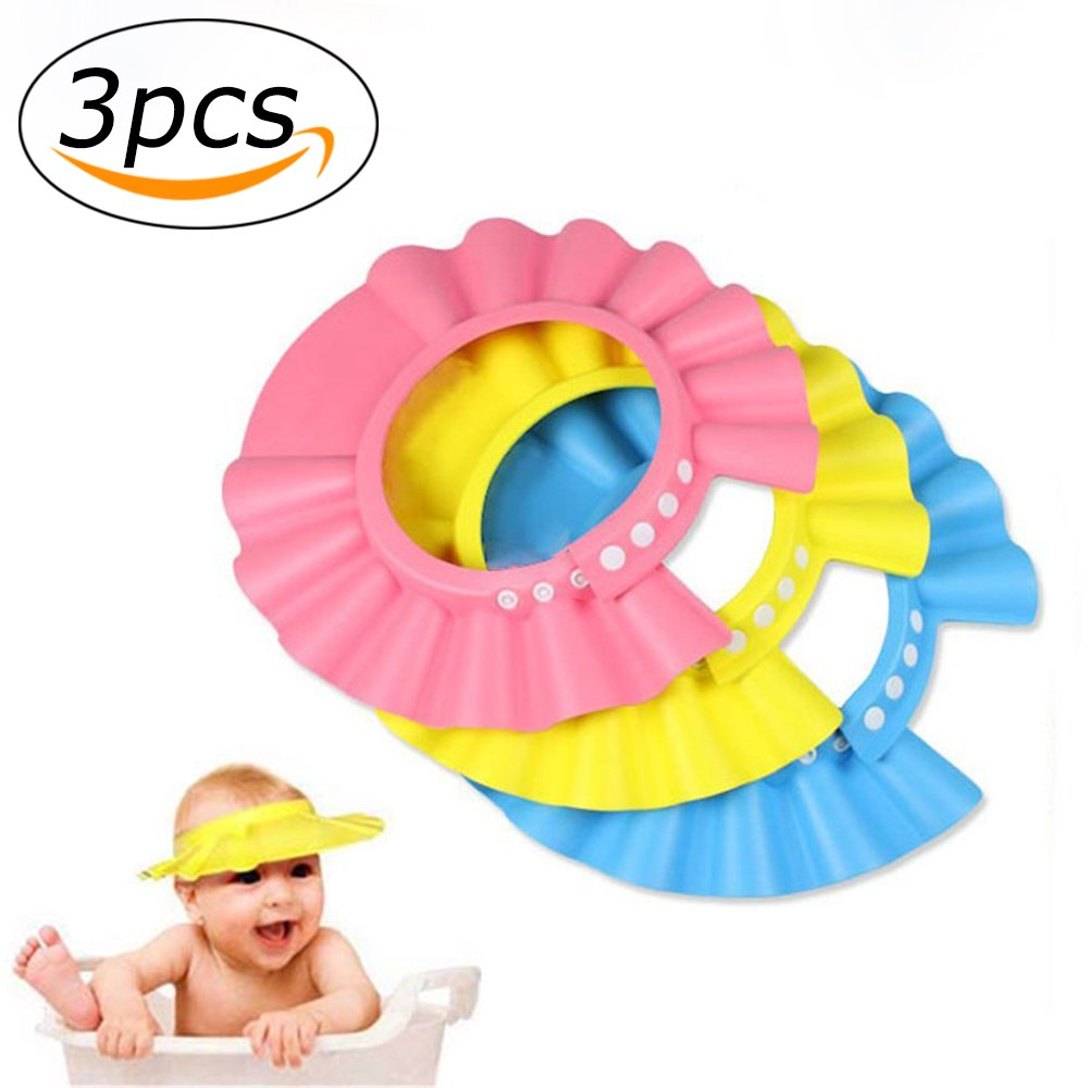 Baby Shower Cap Adjustable Waterproof Safe Shampoo Protect Soft Hat Wash Hair Shield for Baby Children Kids (Blue) YMero