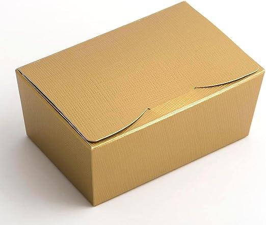 Caja de bola, 10 unidades, tamaño grande, 150 x 100 x 70 mm, seda dorada para chocolates y confitería. Se envía plano sin decoración o cinta: Amazon.es: Hogar