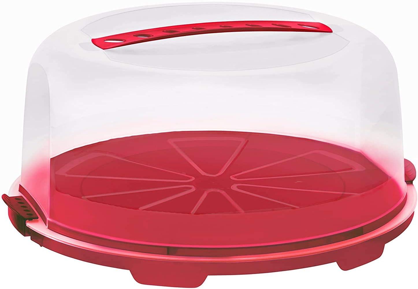 Rotho Fresh, campana de alta torta con capucha y asa de transporte, Plástico PP sin BPA, rojo, transparente, 35.5 x 34.5 x 16.5 cm