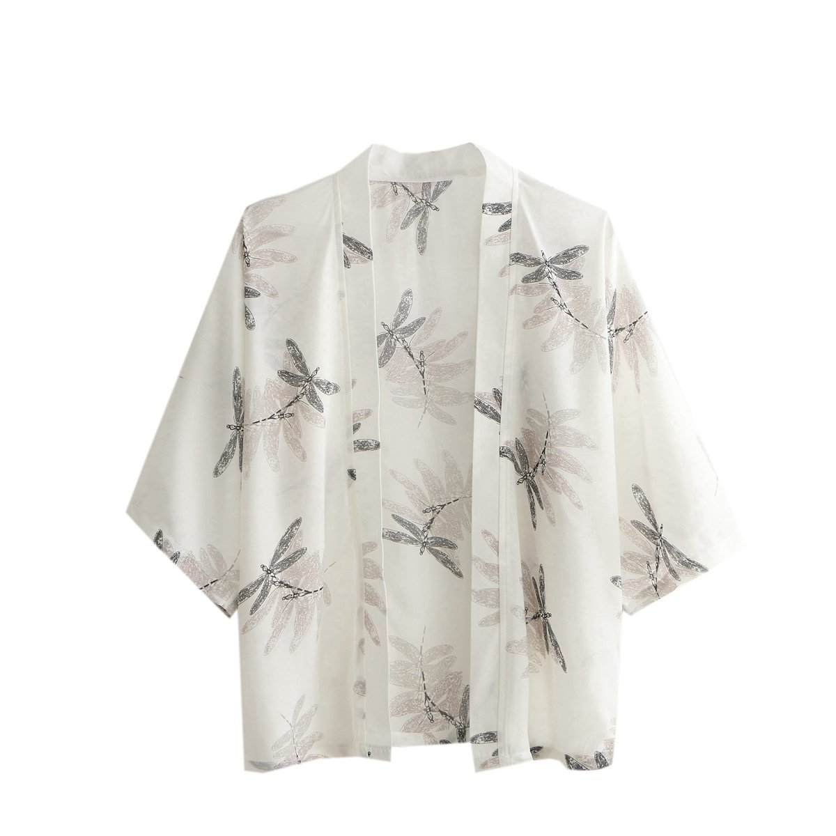 Japanese Style Women Chiffon Kimono 3/4 Sleeve Dragonfly Print Casual Blouse Coat Sun Protection Clothing (Free Size, C2)