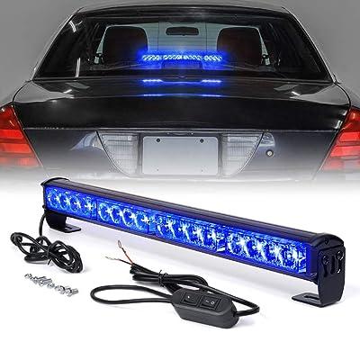 "Xprite 18\"" Inch 16 LED Blue Emergency Traffic Advisor Vehicle Strobe Light Bar w/ 7 Warning Flashing Modes for Trucks Vehicles Cars: Automotive [5Bkhe1503819]"