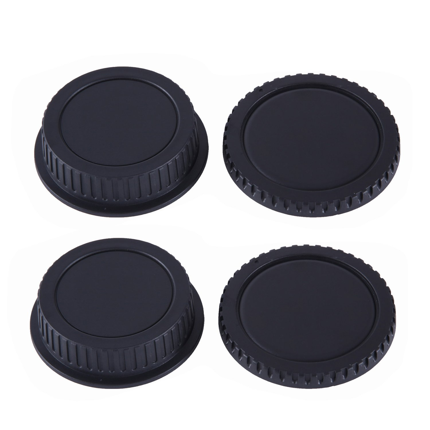 2 PACK - Movo Lens Mount Cap and Body Cap for Canon EOS DSLR Camera (4 Caps)