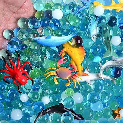 AINOLWAY Water Beads Sea Animals Tactile Sensory Experience Kit - 24 Realistic Deep Sea Animal Figures Educational Toys & 5 Colors Sensory Water Gel Bead for Kids 3+