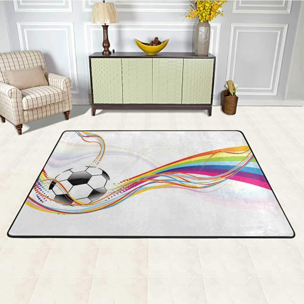 Soccer Office Chair Mat for Carpet 3' x 5', Rainbow Patterned Swirled Lines Abstract Football Pattern Colorful Stripes Design HD Printed Carpet, Multicolor
