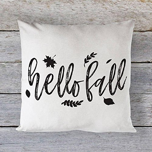 Hello Fall Pillow Cover, Pillowcase, Cotton Canvas, Cushion Cover and Throw Decorative Pillowcase, Fall, Thanksgiving, Autumn, Home Decor, Harvest, Halloween - Blessings Bowl Glass