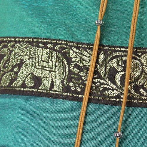 That's Perfect! Thai Elephant Band 18''x18'' Decorative Silk Throw Pillow Sham - COVER (Teal)