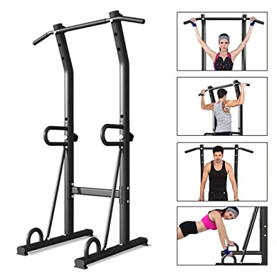 Adjustable Power Tower | Pull Up Bar Workout Dip Station Multi-Function Push Up Bar for Home Gym Strength Training,Home Workout Station (from US, Black): Kitchen & Dining