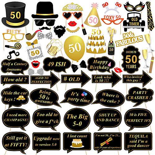 Funny 50th Birthday (50th Birthday Photo Booth Props, Konsait 50 Black and Faux Gold Happy Birthday Decorations DIY Photo Booth Prop Kits with Stick for Birthday Party Favor Supplies (59 Counts))