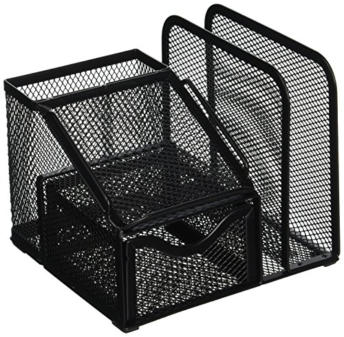 Greenco Mesh Office Supplies Desk Organizer with Note Pad Holder, Black ()
