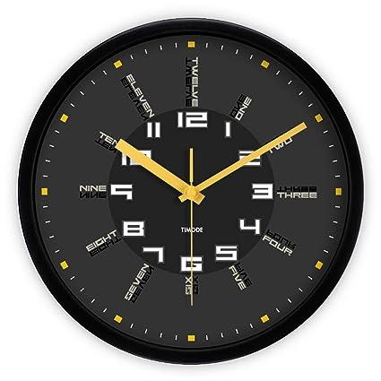 GFL Reloj de Pared de 12 Pulgadas Mute English Reloj de Cuarzo Moderno Digital Sala de
