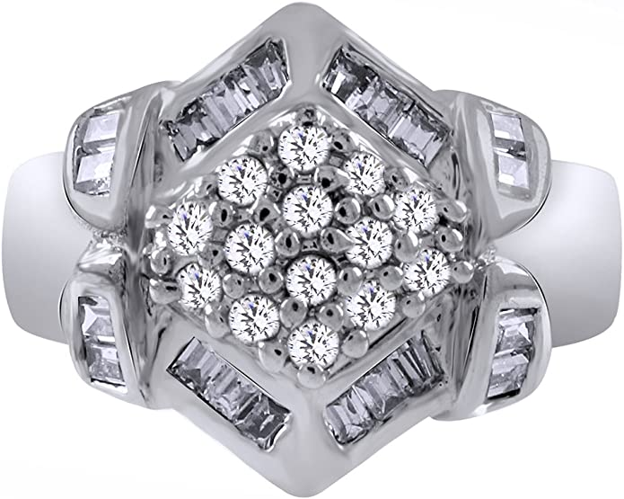 Wishrocks Round Cut White Cubic Zirconia Cluster Ring in 14K Gold Over Sterling Silver