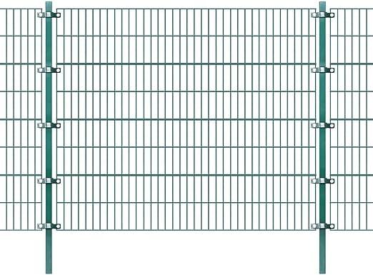 vidaXL Panel de Valla con Postes Hierro Verde 6x1, 6 m Cercado ...