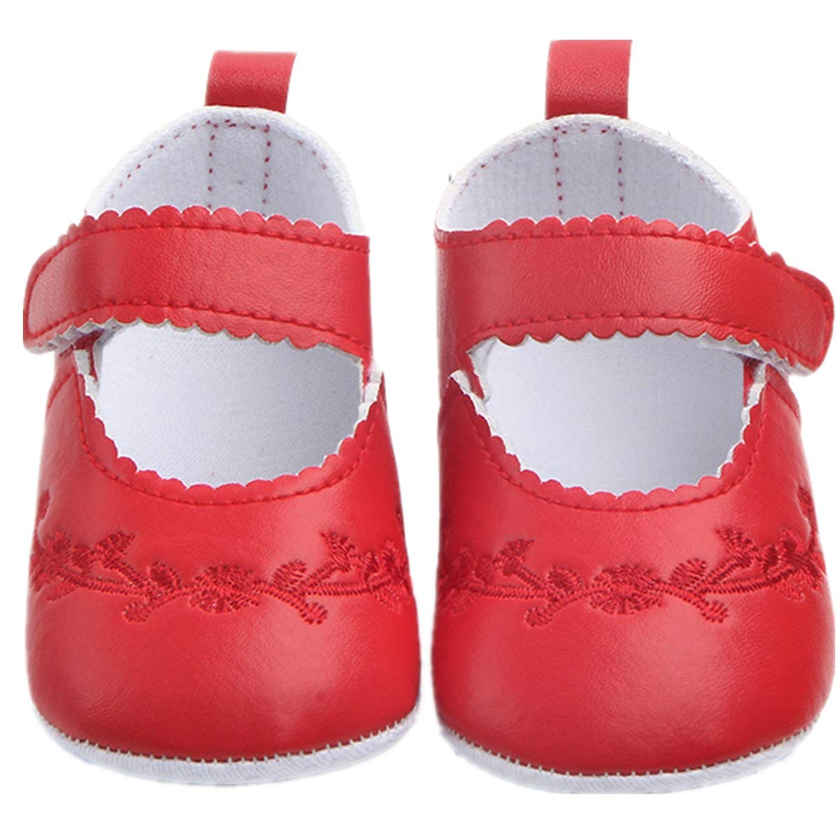 ADIASEN PU Leather Baby Embroidery Girl Shoes,Soft Non-Slip Toddler Shoes Infants Shoes,Newborn Shoes Baby Girl,Spring//Fall Baby Shoes
