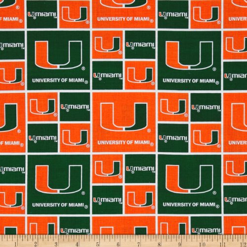 Sykel Enterprises Collegiate Cotton Broadcloth University of Miami Fabric By The ()