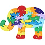 AiSi Wooden Jigsaw Elephant Numbers 123 Alphabetic ABC Childrens Puzzles