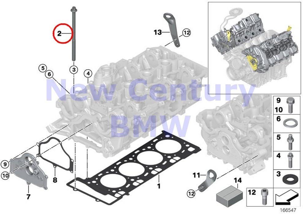 BMW Genuine Cylinder Head Attached Parts Set Bolt Cylinder Head X5 M X5 50iX X6 50iX X6 M Hybrid X6 750i 750iX ALPINA B7 ALPINA B7X 750Li 750LiX ALPINA B7L ALPINA B7LX Hybrid 7 Hybrid 7L 550i 550iX 55