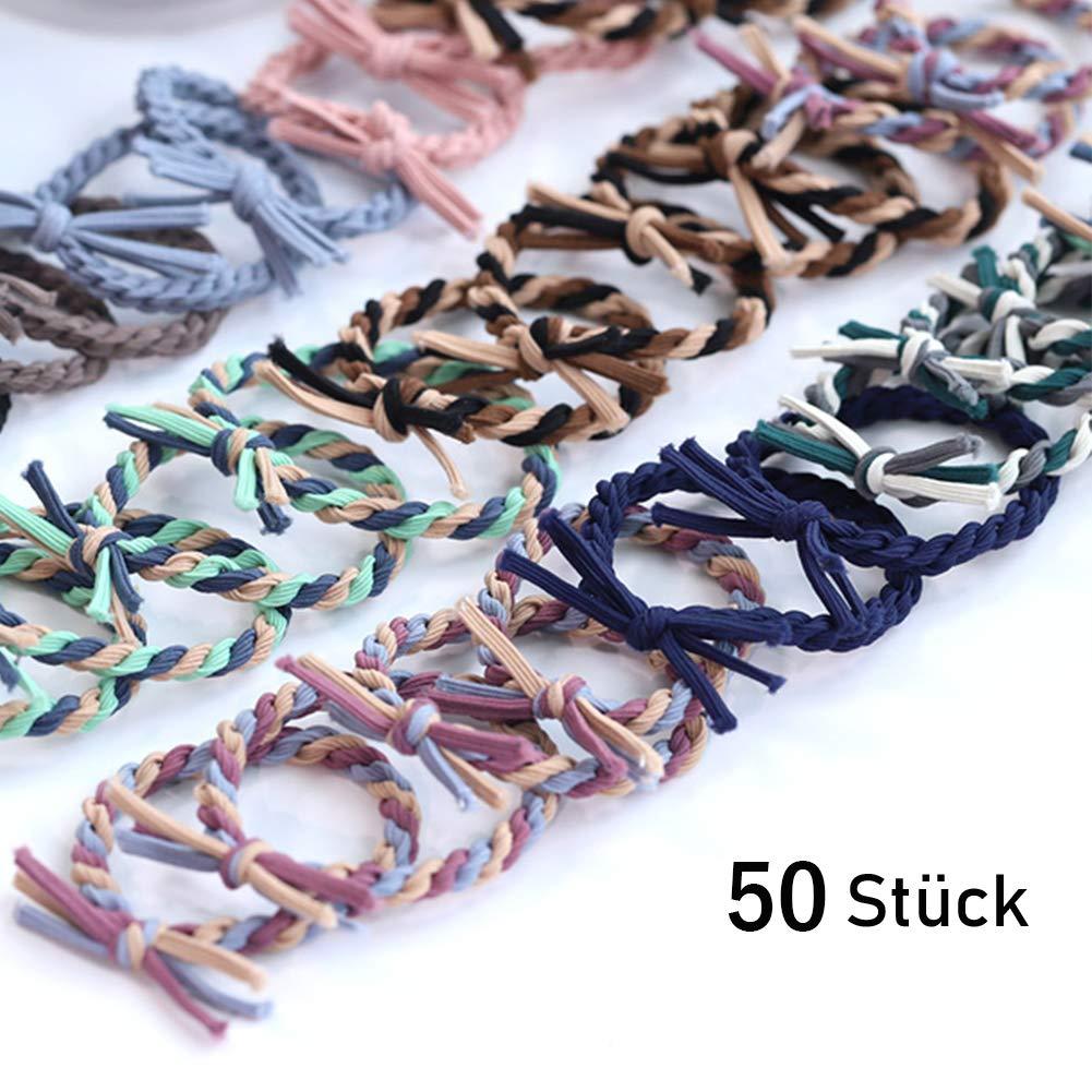 DAHI Haargummis 80stk Zopfgummis Elastische haarband haargummi in 10 farben welle