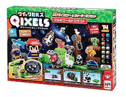 QIXELS(퀵 셀의) DX드라이 스피너(spinner)&워터 건 세트 멀티 월드 크래프트